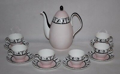 Foley Bone China - Fairy Silhouette Pink - Coffee Service For 6 - C1950 • 199.99£
