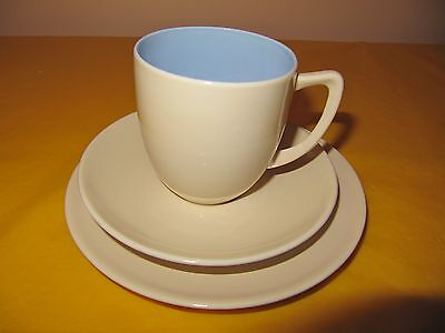 BRANKSOME Cream&Blue TRIOS (SIDE PLATES&CUPS&SAUCERS), Small Marks From Use  • 14.99£