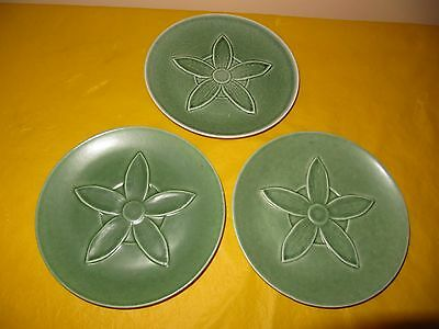 Set Of 3 RARE BRANKSOME GREEN FLOWER PLATES Dia 6.5   Firing Imperfection,  • 30£