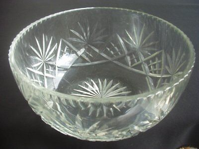 Vintage Heavy Cut Glass / Crystal Fruit Bowl ~attractive Design ~9  Diameter • 18.99£