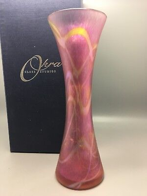 Okra Glass Vase From 1990+ Complete With Box • 99.95£