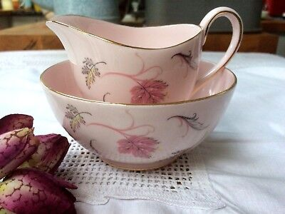 Vintage Tuscan Pretty Pink 'Windswept' China Tea Set Milk Jug & Sugar Bowl • 17.50£