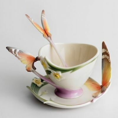 Franz Porcelain Butterfly Cup & Saucer And Spoon XP1693 • 225£