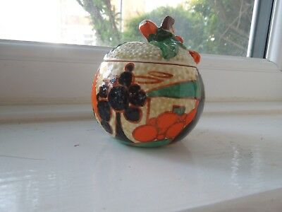 Lovely Clarice Cliff Orange Trees And House Small Apple Shaped Preserve Pot • 325£