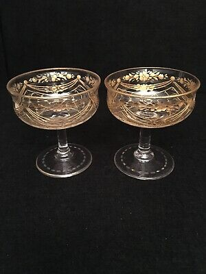 Antique French St.Louis / Moser Pair Of Matching Glasses C1920's With Gilt Decor • 195£