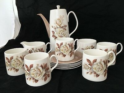 Vintage Queen Anne 'AUTUMN ROSE' Bone China Coffee Set For 5 • 29.99£