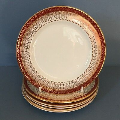 Royal Grafton Majestic Maroon/red Set Of 6 Tea/side Plates • 20£