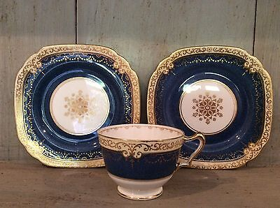 VINTAGE CROWN STAFFORDSHIRE 2 SIDE PLATES & CUP COBALT BLUE & GILT Replacements • 10£
