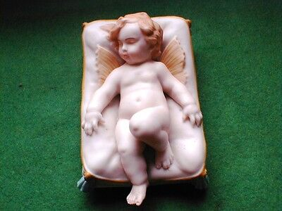 W H GOSS COLOURED PARIAN FIGURE OF EVANGELINE ON CUSHION IMPRESSED MARK C 1890 • 125£