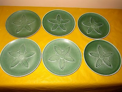 Set Of 6 RARE BRANKSOME GREEN FLOWER PLATES Dia 6.5   , Unused In VGC • 40£