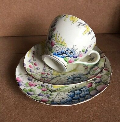 Vintage 1930s Art Deco Foley China Trio Cup Saucer Plate Cottage Garden • 24.99£