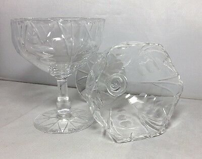 Vintage Webb Corbett Cut Glass Crystal Pair Art Deco Champagne Saucers Glasses • 29.99£