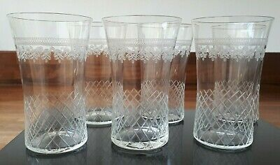 Stunning Set Of 6 Antique Crystal Cut Glass Cordial Tumblers Excellent Condition • 90£