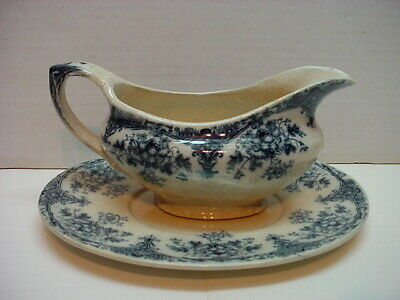 Antique Gravy Boat With Under Plate H. H. & S. Queen Flow Blue • 20.25£