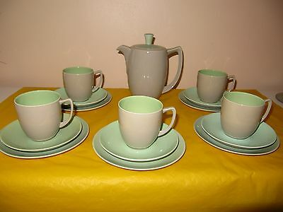 BRANKSOME Grey,Green&Duck Blue COFFEE SET For 5  Firing Faults, Used In VGC   • 68£