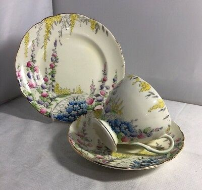 Vintage Foley 1930s Cottage Garden Trio Cup Saucer Plate • 24.99£