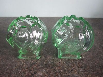 Bagley - Pair - Glass Equinox Vases - Green • 24.99£