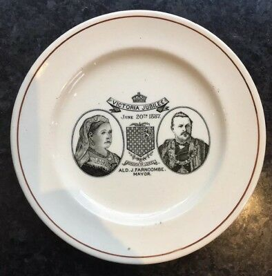 1887 Queen Victoria Royal Commemorative Pottery Plate. Lewes Mayor & Retailer • 24£