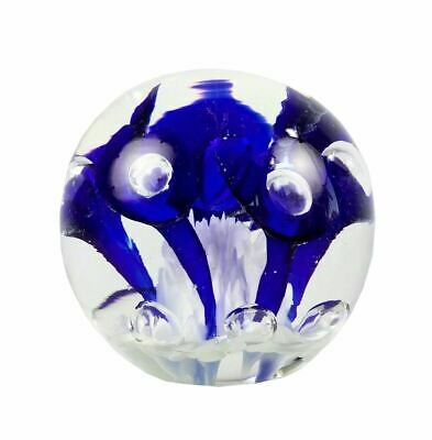 Joe St Clair Glass Cobalt Blue Floral Paperweight W Controlled Bubbles 3.5 • 39.51£