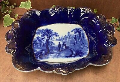 Unique, Lovely Antique Bowl With Flow Blue Decoration -  Large • 39£