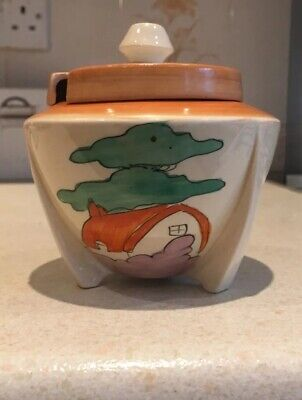 Clarice Cliff Orange Roof Cottage Preserve Pot • 225£