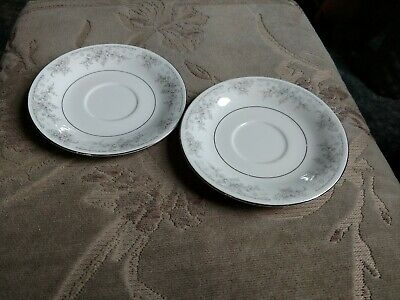 China Pearl Liling Gray Flowers Saucers • 1£