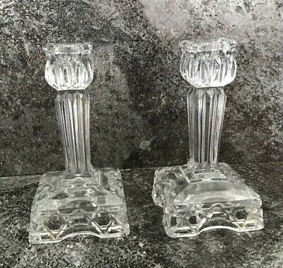 X2 LEAD CRYSTAL CANDLESTICK HOLDERS • 15£