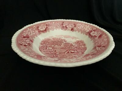 Vintage Adams Wedgwood Ironstone Pink English Scenic Large Soup Plate Bowl  Rim • 7.50£