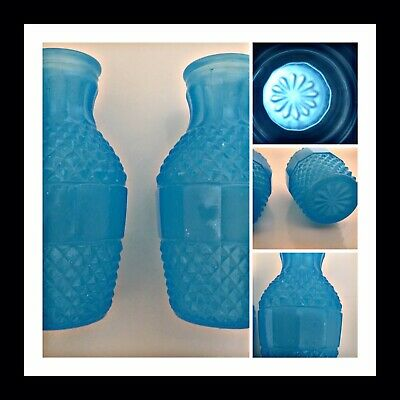 Vintage Glass Small Posy Vases Pair Opaline Blue Style Fenton & Pontieux • 12£