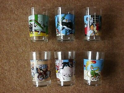Lovely Tintin Glasses - Amora 1974 Complete Set Of 6 - Very Rare. • 174.90£