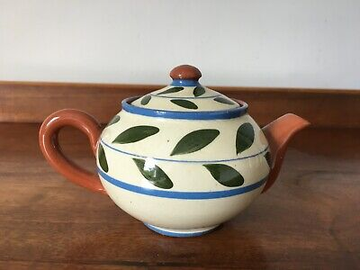 Torquay Ware Small Teapot With Leaf Design • 10£