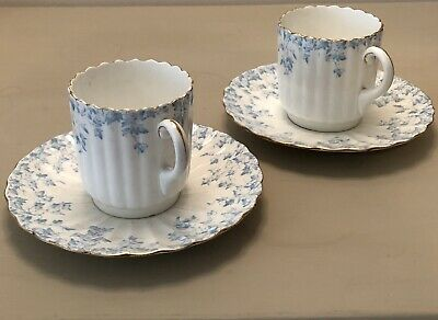 2 X Wileman Foley (May Shape) Blue Ivy Coffee Cups With Saucers • 100£