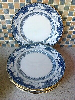 Booths Silicon China England 6 X Dinner Plates Blue/white Butterfly Border • 4.99£