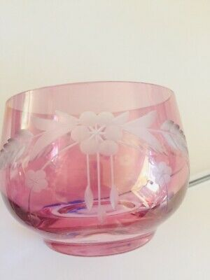 Vintage Cut Glass/etched Cranberry Tumbler Or Small Bowl. • 15£
