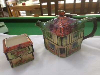 Ye Old Inn Pottery Teapot And Sugar Bowl • 15£
