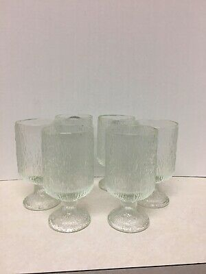Vintage Set Of 6 Footed Textured Glass Drinking Glasses  • 23.91£