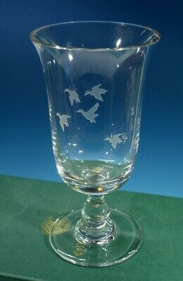 Beautiful Boxed Engraved Collins Crystal Footed Vase  - Flying Ducks. • 19.99£