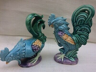 Pair Of Vintage Fighting Ceramic Roosters Chickens Majolica? Style Colourful • 20£