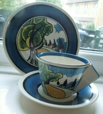 Clarice Cliff May Avenue Wedgwood Conical Cup Saucer Plate Trio • 250£