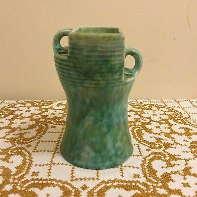 Rare Art Deco Beswick Ware #190 Twin Offset Handled Motted Green Vase • 64.95£