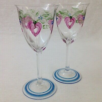 Orrefors Maja Crystal Sherry Glasses Pair Eva Englund Signed Hand Painted • 75£