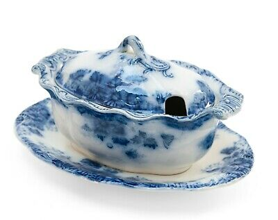 Antique Barkers & Kent Staffordshire Pottery Flow Blue & White Sauce Tureen • 22.99£