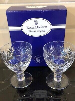 2x Royal Doulton Finest Crystal Wine Goblets / Glasses Boxed • 20£