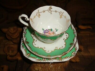 Beautiful Fenton Bone China Trio Cup Saucer Side Plate Floral Green Gold White • 12.99£