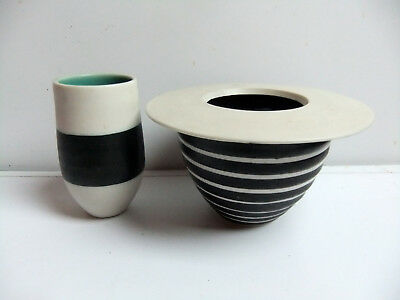Cathy D'Arcey Black And White Disc Vessel And Beaker • 50£