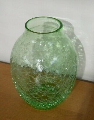 Vintage Green Nazeing Glass Vase With Crackle Finish - 21.5 Cm High X 15 Cm Dia. • 24.95£