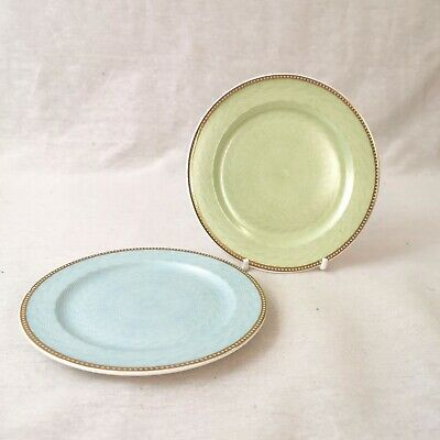 The Royal Collection Faberge Pair Of Plates Guilloche Enamel Turquoise And Green • 30£