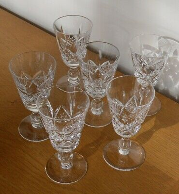 6 Stuart Cut Crystal Canterbury Glasses Port/Sherry - 4  High - VGC • 13.50£