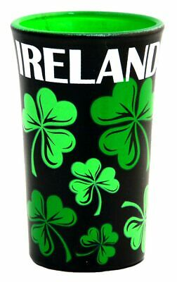 Black Shot Glass With Green Shamrock Design & White Irish Text • 3.56£