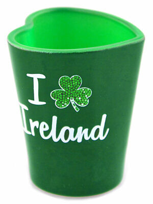 Green Irish Heart Shaped Shot Glass With I Shamrock Ireland Design • 3.56£